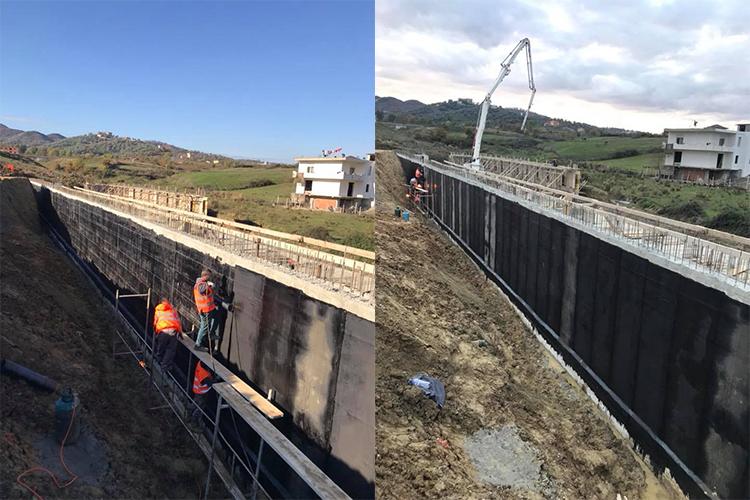 Wall waterproofing with bituminous membrane